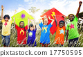 Kids Diverse Playing Kite Field Young Concept 17750595