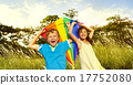 Children Playing Kite Happiness Cheerful Beach Summer Concept 17752080