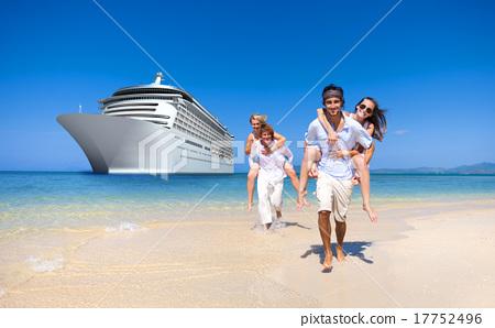 Stock Photo: Summer Couple Island Beach Cruise Ship Concept