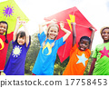 Children Flying Kite Playful Friendship Concept 17758453