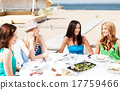 girls in cafe on the beach 17759466