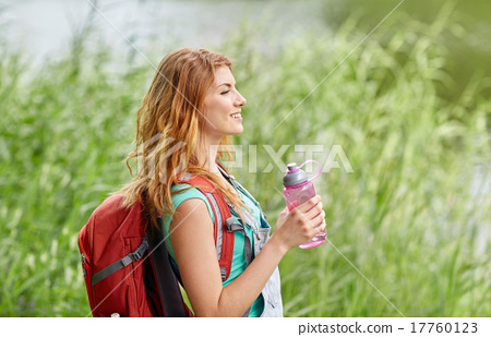 woman with backpack and bottle of water hiking 17760123