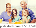 happy family with two kids with having breakfast 17763740