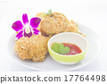 Fried chicken and decorative orchid 17764498