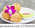 Fried chicken and decorative orchid 17764499