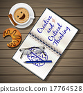 notebook and coffee cup with croissant 17764528