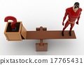 3d superhero with question mark and standing on seesaw for balance concept 17765431