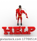 3d superhero search for help using magnifying glass concept 17766514