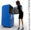 3d woman open refrigerator to take apple out concept 17766959