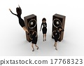 3d woman dance with speaker concept 17768323