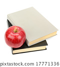books and apple isolated on white background 17771336