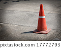 traffic cone on street used warning sign on road 17772793
