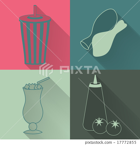 Stock Illustration: Set of four colored fast food icons