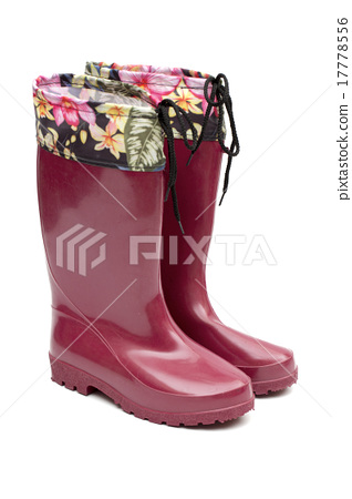 rubber boots on the white background 17778556