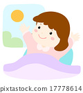 little girl  waking up early vector illustration 17778614