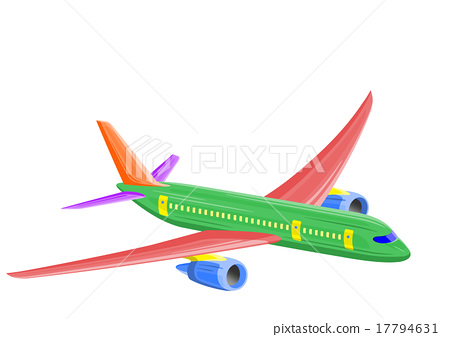 Illustration of an airplane (passenger plane) drawn colorfully 17794631