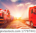 freight train and truck as transportation concept 17797441