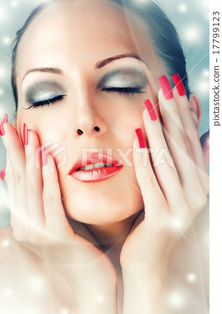 Stock Photo: Winter Skin Care. Beautiful female face