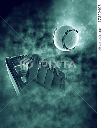 Baseball and mitt in smoke with bokeh 17800408