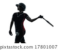 woman playing softball players silhouette isolated 17801007