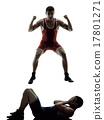 wrestlers wrestling men isolated silhouette 17801271