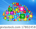 Cloud Computing symbol on high tech background 17802458