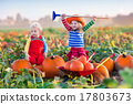 Kids picking pumpkins on Halloween pumpkin patch 17803673