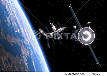 Stock Illustration: The Spacecraft Flies To Space Station