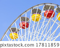 Close up picture of ferris wheel against blue sky. 17811859
