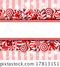 Sweet banner with red and white candies.  17813151