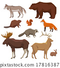 Wild Animal Painted Icon Set 17816387