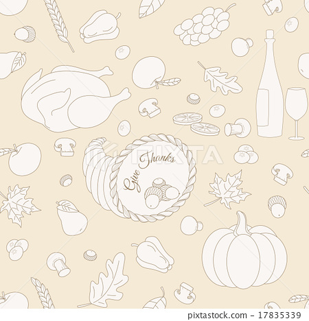 Set of hand drawn Thanksgiving elements 17835339