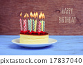 text happy birthday and cheesecake with candles 17837040