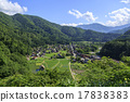 shirakawa-go, shirakawago, having a steep thatched rafter roof 17838383