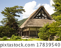shirakawa-go, shirakawago, having a steep thatched rafter roof 17839540
