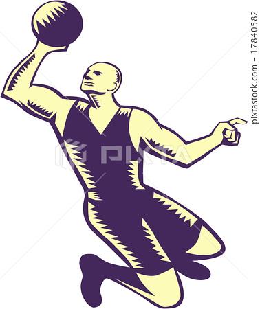 Basketball Player Dunk Ball Woodcut 17840582