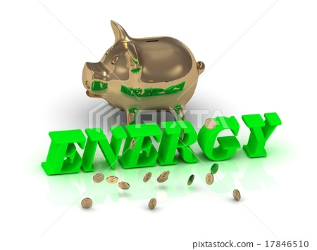 ENERGY- of green letters and gold Piggy 17846510