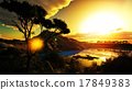 Sunset over beautiful lake region 17849383