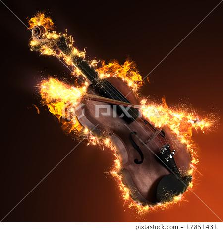 Violin in fire 17851431