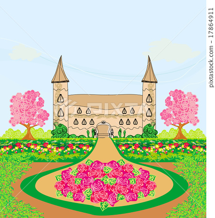 landscape with a beautiful castle and gardens 17864911