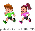 Funny running boy and girl 17866295