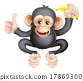 Cartoon Chimp Monkey With Banana 17869360