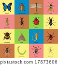 Set of insects flat style design icons. Butterfly 17873606