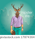 Hand Drawn Vector Illustration of Deer Hipster 17874364