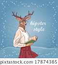 Hand Drawn Vector Illustration of Deer Hipster 17874365