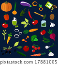 Natural ripe vegetables flat icons 17881005