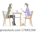 Two women talking at a cafe 17885266