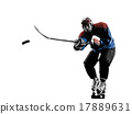 Ice hockey man player silhouette 17889631