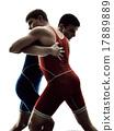 wrestlers wrestling men isolated silhouette 17889889