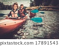 Group of happy people on a kayaks 17891543